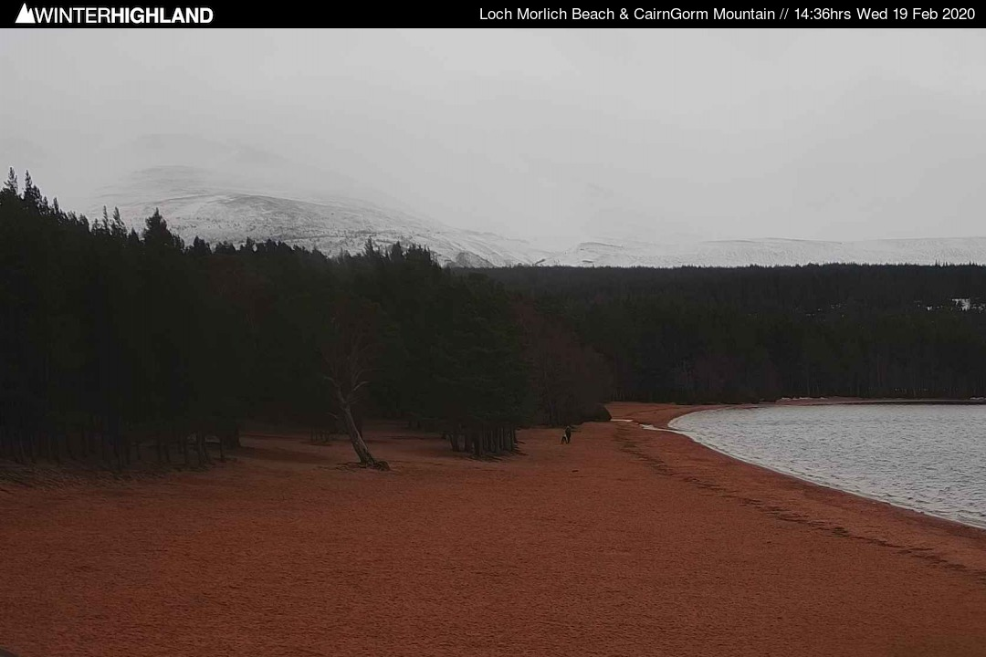 Cairngorm Mountain from Loch Morlich, Scotland - Webcam Image