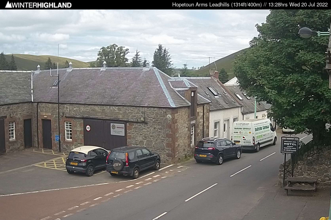 View of Leadhills village centre and the B797 road